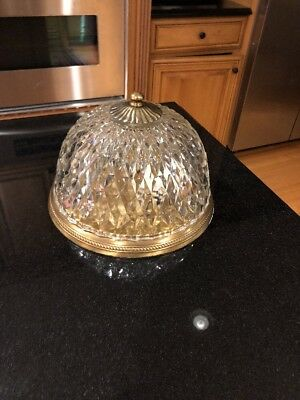 Vintage Pressed Cut Clear Diamond Glass Lamp Light Shade Globe