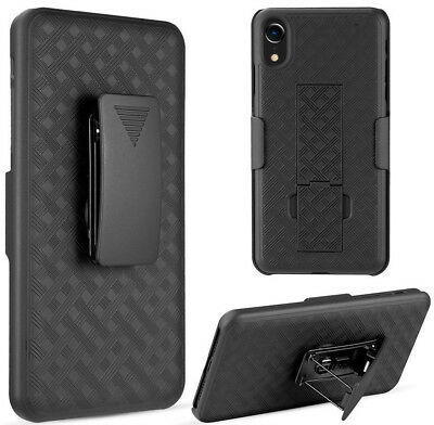 "for iPhone XR (6.1"") - Black Holster Swivel Belt Clip Hard Combo Slim Case Cover"