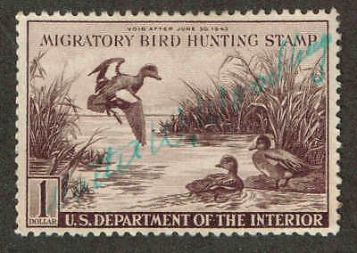 RW 9  US Fed Duck Stamp Migratory Bird Hunting License 1942.  Used