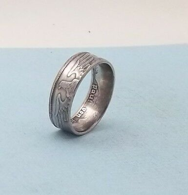 Third Reich WWII 1937 German 2 mark 62.5% silver coin ring size 8