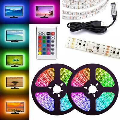 0.5M-5M RGB 5050 LED Strip Light 5V USB TV PC Back Lighting 30/60LEDs/M +Remote