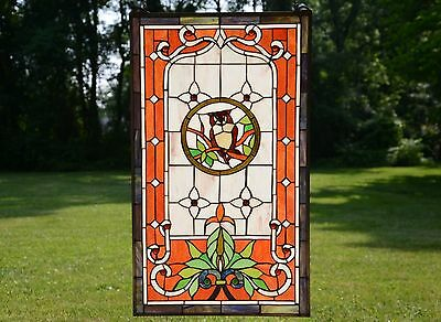 """20"""" x 34"""" Owl Large Handcrafted stained glass window panel"""