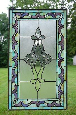 """20"""" x 34"""" Large Handcrafted stained glass Beveled window panel"""