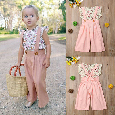 2PCS Toddler Kids Baby Girls Summer Clothes Ruffle T-shirt Tops Pants Outfit Set
