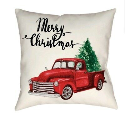 Holiday Red farm Truck Christmas Tree Decorative Accent Toss Pillow Vintage 16""