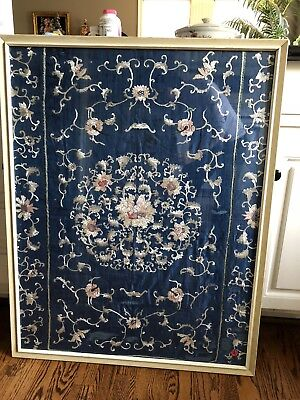 C. 1800 Antique Chinese Silk Embroidered Panel Framed Panel W. Glass