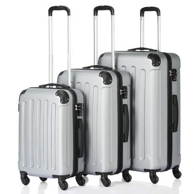3Pcs Luggage Travel Set Bag PC + ABS Trolley Spinner Suitcase w/TSA Lock