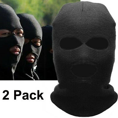 2Pack 3 Hole Knitted Full Face Mask Balaclava Hat Ski Army Stocking Winter  Cap c241a98375dc