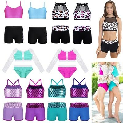 Girls Sequin Mermaid Ballet Dance Tankini Outfit Kids Gymnastics Gym Workout Set