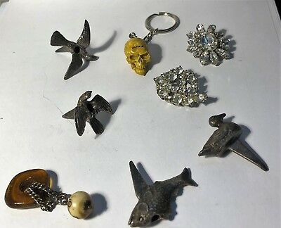 Vintage Lot Of Assorted Jewelry- Earrings-Skeleton Key Chain- Pewter Birds&fish