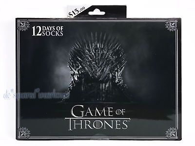Mens Game of Thrones 12 Days of Socks Advent Gift Set Shoe Size 6-12
