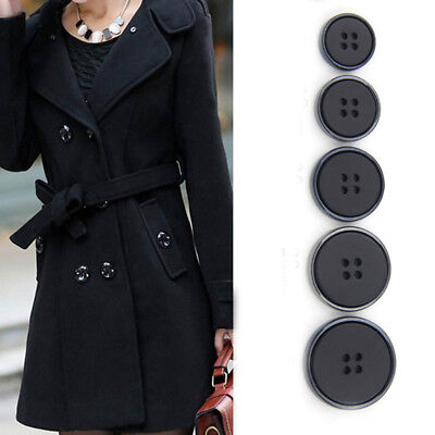 10Pcs 4 Holes Black Buttons Coat DIYSewing Connectors 15/18/20/23/25mm Crafts