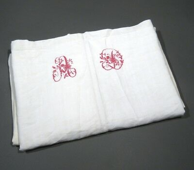 """AntiqueFrench Sheet for Projects,  Monogrammed """"D.A."""", 114 ¼ x 78 ¾ Inches"""
