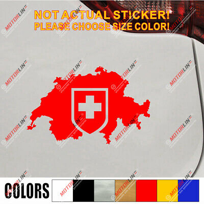 Switzerland map outline Decal Sticker Car Vinyl pick size color Swiss flag
