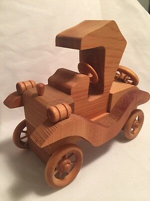 Handcrafted vintage wooden toy car wood antique rolling wheels