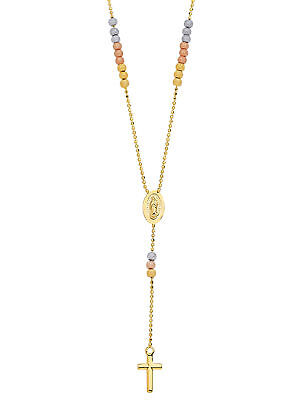 Rosary Necklace with Medallion 14k Gold with Tri-colored beads