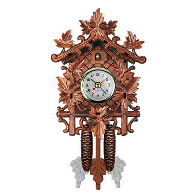 Cuckoo Wall Clock Bird Wood Hanging Decorations for Home Cafe Restaurant B5Q3