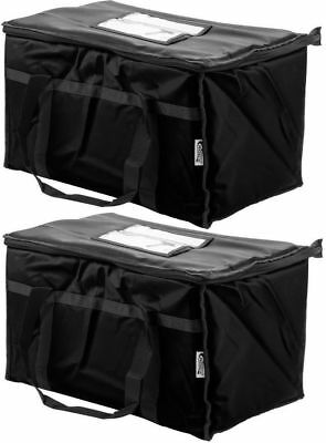 2 Insulated Black Catering Delivery Food Full Pan Carrier Hot Cold Cooler Bag