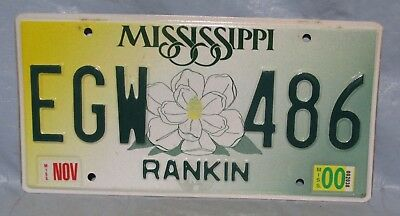 Expired Mississippi RANKIN Automobile License Plate Car Tag EGW - 486 NOV 2000