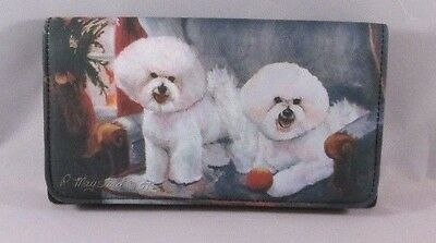Bichon Frise Wallet Dogs Checkbook Coin Purse Zipper Bills Cards Magnetic Clasp
