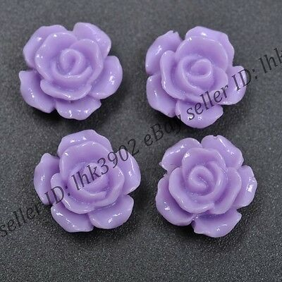 20 Pcs Gorgeous Purple Rose Flower Coral Spacer Beads 12MM