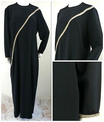VTG 60s 70s Lucie Ann Beverly Hills Hostess Cocktail Gown Black Rhinestones M  L
