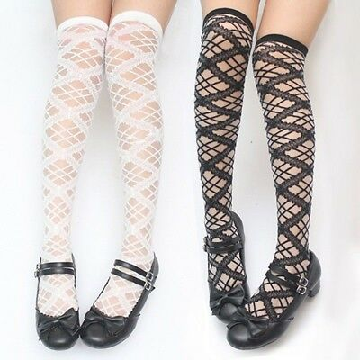 Lolita Girls Lace Hollow Stockings Cross Sheer Thigh High Over Knee Long Socks