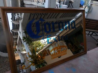 "vintage Large CORONA EXTRA Bar Beer Glass Mirror Sign 51.5"" X 33.5"" Barton Beer"