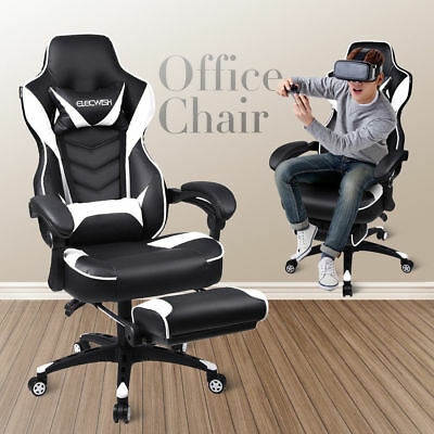 Racing Gaming Chair Ergonomic Leather Recliner Computer Office Desk Seat Swivel