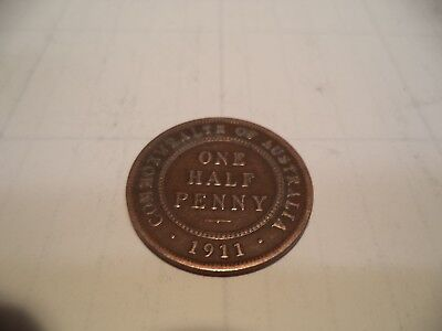 1911 Kgv Half Penny Fine/very fine  RARE VERY OLD COLLECTION GREAT INVESTMENT