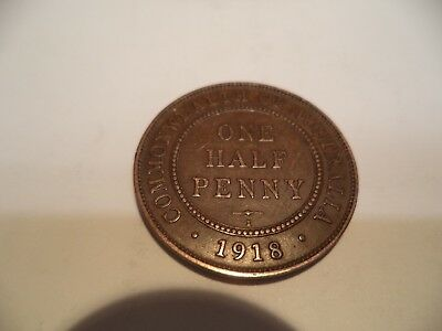 1918 Kgv Half Penny Fine/very fine  RARE VERY OLD COLLECTION GREAT INVESTMENT