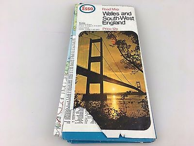 Vintage - Esso Road Map - Wales And South West England - U.k.