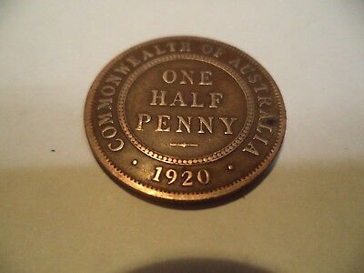 1920 KGV Half Penny Fine/Very Fine  RARE VERY OLD COLLECTION GREAT INVESTMENT