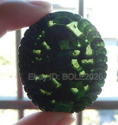 Chinese Natural Black Green Jade Carved Coin Dragon Lucky Pendant +Rope Necklace