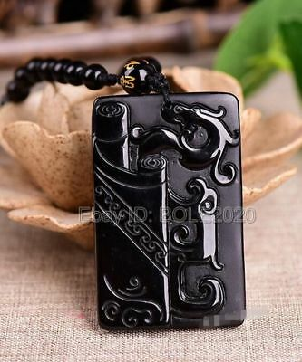 Natural Obsidian Carved Chinese Ancient Dragon Lucky Pendant + Beads Necklace