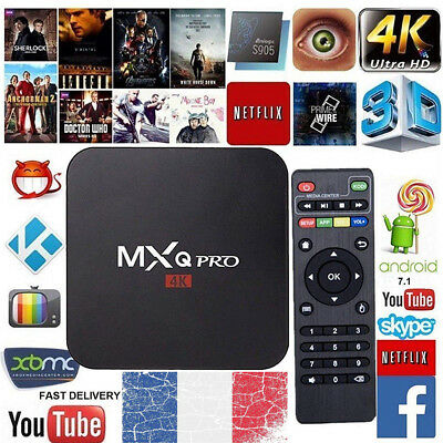 MXQ Pro-4 Boîte 4K Quad-Core Android 7.1 Smart TV-Box  WiFi 8GB IPTV Mini Pc t1
