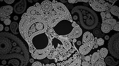 SET OF 6 X PERSONALISED 89 x120.7MM GREY PAISLEY SKULL WINE BOTTLE LABELS
