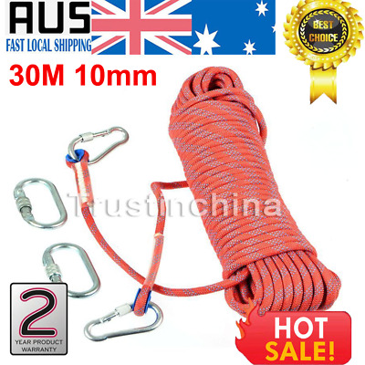 30M Static Rescue Rope Rock Climbing Rappelling Safety Cord W/ Carabiners