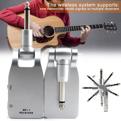 2.4G Wireless Guitar System Transmitter Receiver Built-in Rechargeable Battery