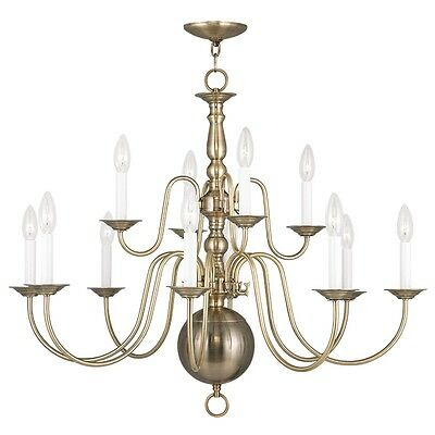 Livex Williamsburgh 12 Light 32 inch Antique Brass Chandelier Ceiling 5014-01