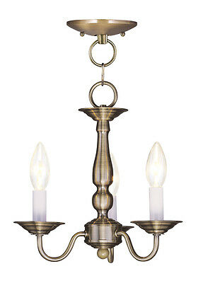 Livex Williamsburgh 3 Light 11 inch Antique Brass Pendant/Ceiling Mount 5009-01