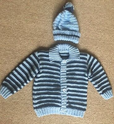 Brand New Hand Knit Age 3 Boys Blue Cardi & Bobble Hat