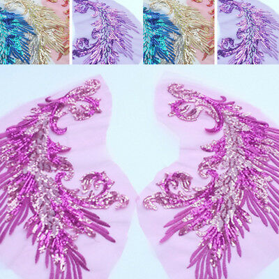Sequins Feather Embroidery Cloth Stickers Wedding Stage Costume Decal Decor