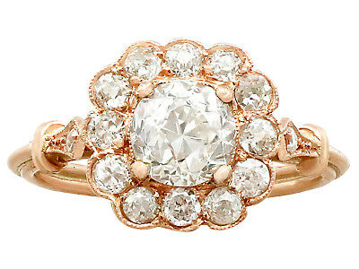 Antique and Contemporary 1.69 ct Diamond 18Carat Rose Gold Cluster Ring Size M