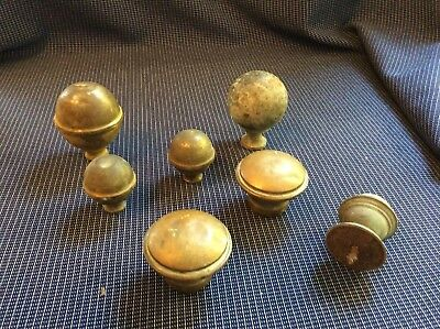 Collection Of Vintage Brass  Bed Finials Knobs