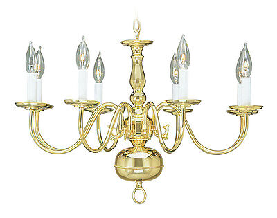 Livex Williamsburgh 8 Light 26 inch Polished Brass Chandelier Ceiling 5008-02