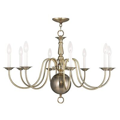 Livex  Williamsburgh 8 Light 32 inch Antique Brass Chandelier Ceiling 5007-01