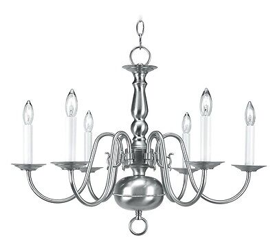 Livex Williamsburgh 6 Light 24 inch Brushed Nickel Chandelier Ceiling 5006-91
