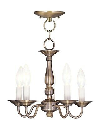 Livex Williamsburgh 5 Light 13 inch Antique Brass Pendant/Ceiling Mount  5011-01