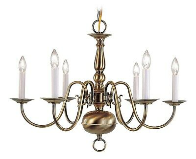 Livex Williamsburgh 6 Light 24 inch Antique Brass Chandelier Ceiling 5006-01